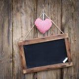Quadro-negro, coração de pano Imagem de Stock Royalty Free