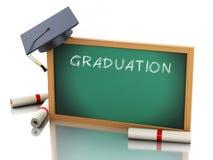quadro-negro 3d com certificado do diploma e tampão da graduação ilustração do vetor