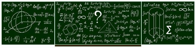 Quadro-negro da escola do vetor com cálculos escritos à mão Fotografia de Stock Royalty Free
