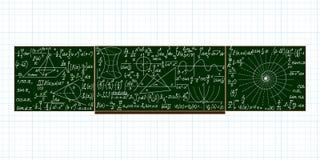 Quadro-negro da escola do vetor com cálculos matemáticos escritos à mão Imagem de Stock Royalty Free