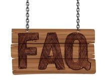Quadro-negro de madeira com FAQ (trajeto de grampeamento incluído) Fotografia de Stock