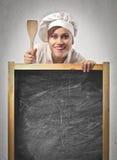 Quadro-negro do cozinheiro Fotografia de Stock