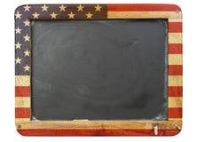 Quadro-negro, estrelas e listras gastos da escola foto de stock