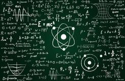 Quadro-negro inscreido com fórmulas e cálculos científicos na física e na matemática Pode ilustrar científico Imagem de Stock Royalty Free