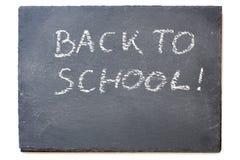 Quadro-negro ou quadro com a mensagem: De volta à escola, isola Fotografia de Stock Royalty Free