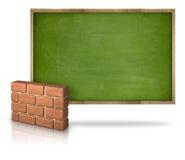 Quadro-negro vazio verde com a parede de tijolo 3D Imagens de Stock Royalty Free