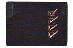 Quadro-negro verific Fotografia de Stock Royalty Free