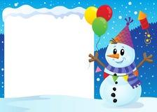 Quadro nevado com boneco de neve 1 do partido ilustração stock