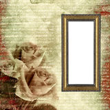 Quadro no fundo do grunge do encanto com rosas Imagem de Stock
