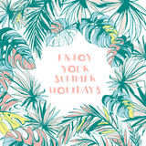 Quadro o teste padrão de folhas de palmeira tropicais tiradas mão da tinta Fotografia de Stock Royalty Free