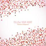 Quadro ondulado feito dos corações cor-de-rosa Copie o espaço ilustração stock