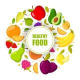 Quadro orgânico dos frutos do vetor isolado Bandeira com ilustração saudável natural do alimento ilustração stock