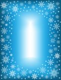 Quadro original para fotos e texto Flocos de neve a c?u aberto em um fundo azul para criar um humor festivo Um presente maravilho ilustração royalty free