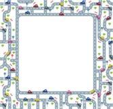Quadro ou beira engraçada com estradas e carros Imagens de Stock Royalty Free