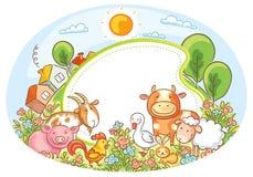 Quadro oval com animais de exploração agrícola Imagens de Stock Royalty Free