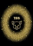 Quadro oval do brilho dourado luxuoso com 2019 e sinal do porco ilustração stock