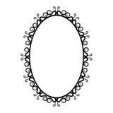 Quadro oval do vintage preto e branco em um fundo branco Fotos de Stock Royalty Free