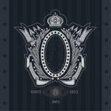Quadro oval entre Laurel Wreath, setas e fita do enrolamento ilustração royalty free