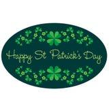 Quadro oval gráfico do dia de Patricks de Saint com teste padrão da beira Fotografia de Stock Royalty Free