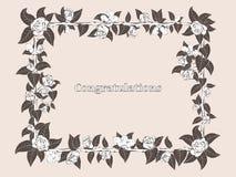 Quadro para felicitações com rosas Fotos de Stock Royalty Free
