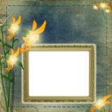 Quadro para a foto com flores Fotos de Stock Royalty Free