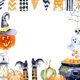 Quadro para o Dia das Bruxas com imagens da aquarela de atributos do feriado Imagens de Stock Royalty Free