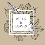 Quadro para o texto com folhas e pássaros no quadrado Melharucos azuis bonitos em um fundo das folhas de outono Vetor Fotos de Stock