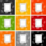 quadro para o texto na perspectiva das folhas de outono, grupo de quadros em fundos de cores diferentes ilustração stock