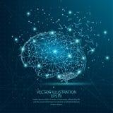 Quadro poli do fio do formulário do cérebro baixo no fundo azul ilustração do vetor