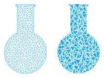 Quadro poligonal Mesh Chemical Flask do fio e ícone do mosaico ilustração royalty free