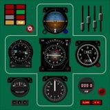 Quadro portastrumenti dell'aeroplano Cruscotto degli aerei Fondo realistico illustrazione di stock