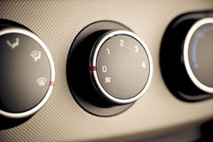 Quadro portastrumenti di comandi di clima in automobile, veicolo. Fotografia Stock