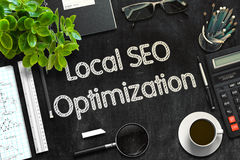 Quadro preto com SEO Optimization local rendição 3d fotografia de stock