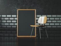 Quadro preto do cartaz perto da cadeira rendição 3d Imagem de Stock
