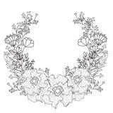 Quadro preto e branco com flores Ilustração brilhante do conceito da mola no vetor Imagem de Stock Royalty Free