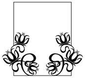 Quadro preto e branco com silhuetas das flores Imagens de Stock