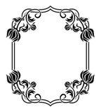 Quadro preto e branco com silhuetas das flores Clipart da quadriculação Fotos de Stock Royalty Free