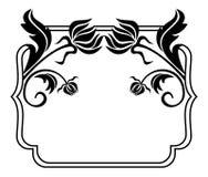 Quadro preto e branco com silhuetas das flores Clipart da quadriculação Foto de Stock Royalty Free