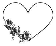 quadro preto e branco Coração-dado forma com silhuetas florais Imagens de Stock Royalty Free