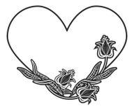 quadro preto e branco Coração-dado forma com silhuetas florais Imagem de Stock Royalty Free