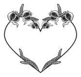 quadro preto e branco Coração-dado forma com silhuetas florais Imagens de Stock