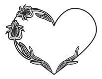 quadro preto e branco Coração-dado forma com silhuetas florais Fotografia de Stock Royalty Free