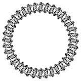 Quadro preto e branco redondo com as flores decorativas abstratas Copie o espaço Fotografia de Stock
