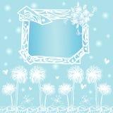 Quadro projetos de cartão no vetor do desenho da carta branca na luz - fundo azul Fotos de Stock Royalty Free