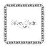 Quadro quadrado chain de prata da beira foto de stock