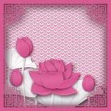 Quadro quadrado chinês abstrato com fundo cor-de-rosa floral, lótus ilustração do vetor