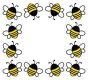 Quadro quadrado com as abelhas bonitos dos desenhos animados Ilustração do vetor ilustração do vetor