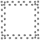 Quadro quadrado com a trilha do cão preto isolada no fundo branco Imagens de Stock