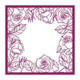 Quadro quadrado cor-de-rosa do corte do laser Wi da silhueta do teste padrão do entalhe ilustração stock