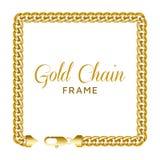 Quadro quadrado da beira da corrente do ouro Forma da grinalda do retângulo imagens de stock